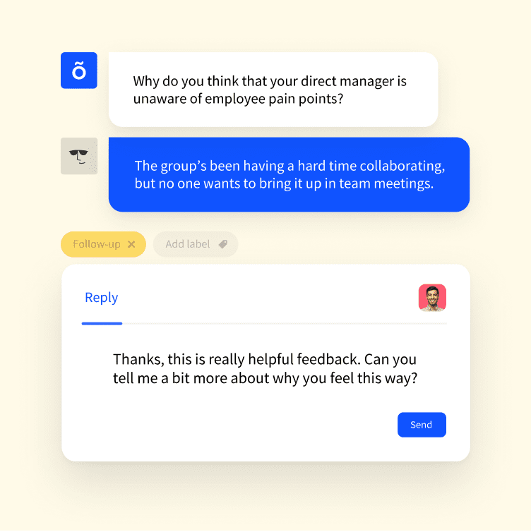Example of a anonymous feedback from an employee to their manager on the Officevibe tool