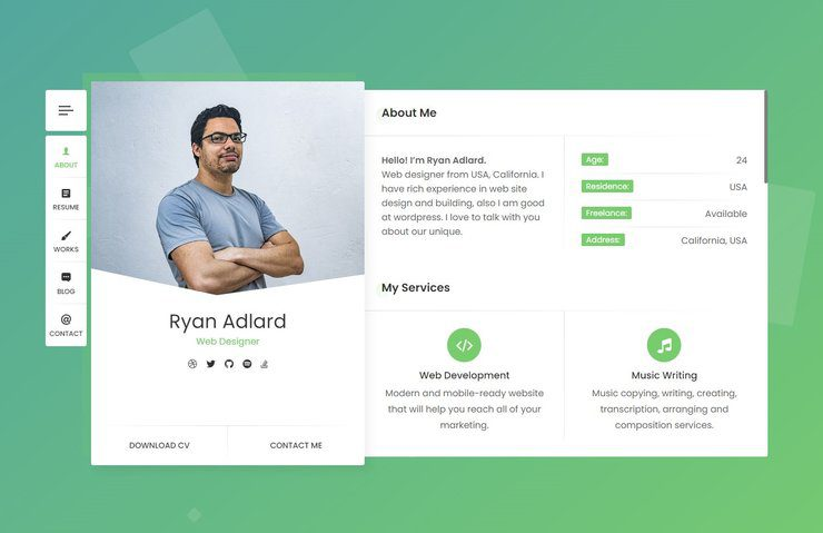 Ryan CV WordPress theme