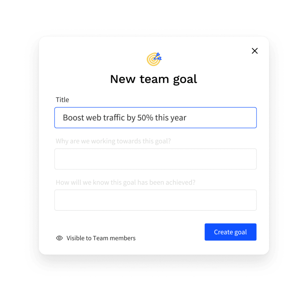 Screenshot of the Team goal setting in the Officevibe app