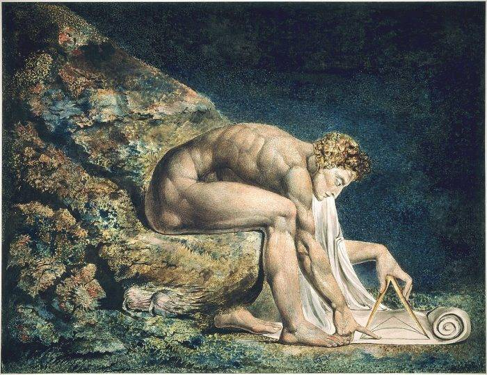 Blake's painting of Newton in the classical style