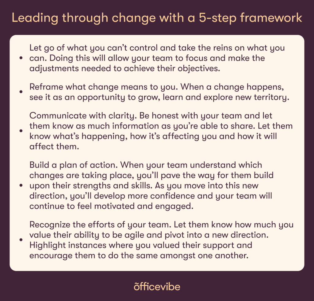 Key takeways about how to lead through change