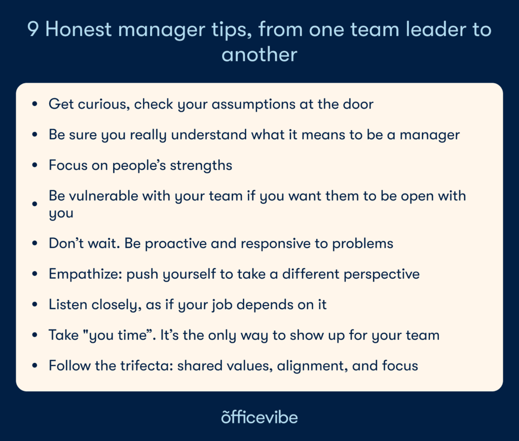 Box with key points of the article: check your assumptions, understand what it means to be a manager, be vulnerable, be proactive, take time for yourself too, empathize, listen closely