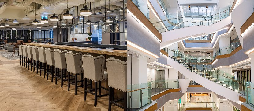 Eaton Club Hong Kong is a coworking space with lifestyle elements and CapitaLand Ascendas Plaza Bridge+ Shanghai is set into a retail mall ecosystem