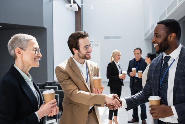 making connections at a networking event